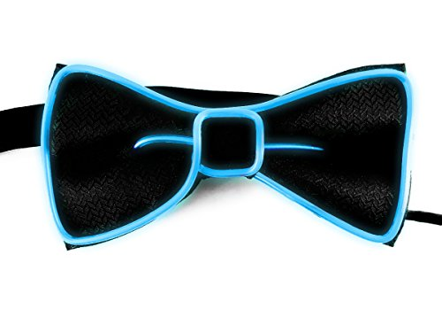 (LED Glow Bow Tie - Novelty Light Up El Wire, Nightclub DJ Dance Party Rave Costume Accessory - Flashing)