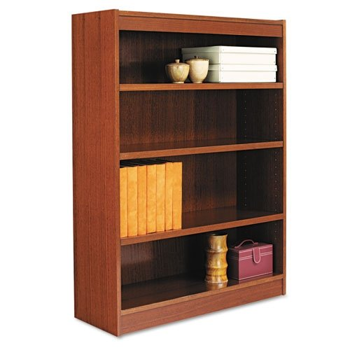 Alera Square Corner Bookcase, Finished Back, Wood Veneer, 4-Shelf, 36 W by 11-3/4 D by 48 H, Medium Cherry (48h 4 Shelf)