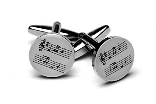 (White Music Stave Silver-plated cufflinks)