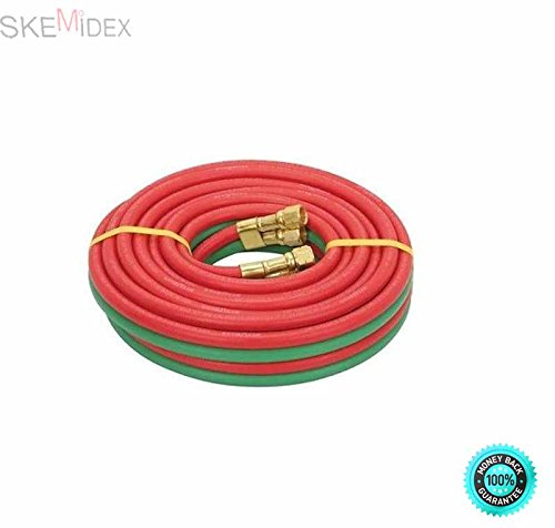 SKEMiDEX---25ft Twin Dual Line Oxy Acetylene Welding Hose 25 feet Twin line configuation Solid brass 3/8'' BB fittings 200 psi working pressure by SKEMiDEX