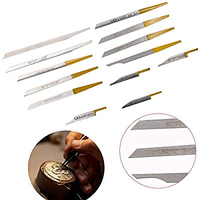 Engraving Cutting Bits Kit 13Pcs Jewelry Engraver Knife Edge Tungsten Steel Carving Graver Knife Cutting Engraving Bit Kits for Pneumatic Engraving Machine