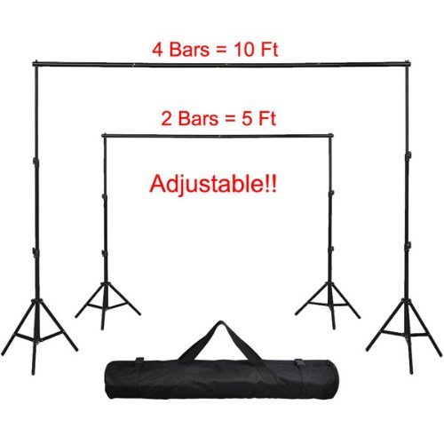 Amzdeal® Portable Photography Background Backdrop 10' x 8 1/5' Black Aluminum Telescopic Tripod Stand Kit w/ Carrying Case Extension Pole Bar for Photo Studio Support