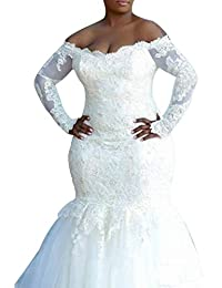 Amazon off the shoulder wedding dresses wedding party womens mermaid wedding dresses plus size long sleeve bridal gowns junglespirit Image collections
