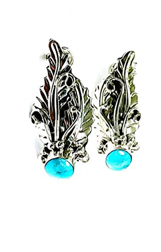 Kingman Turquoise Ear Cuff .925 Sterling Silver Native American Navajo Handcrafted