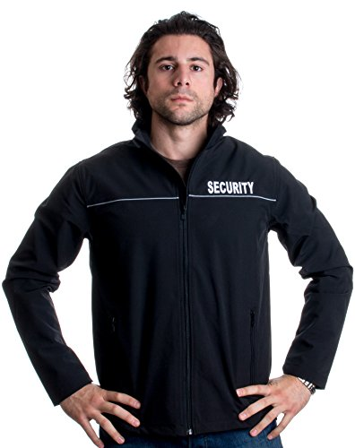 (Ann Arbor T-shirt Co. Security | Fleece Lined Soft Shell Guard Jacket - Sewn Front, Reflective Back - (Shell, XL))