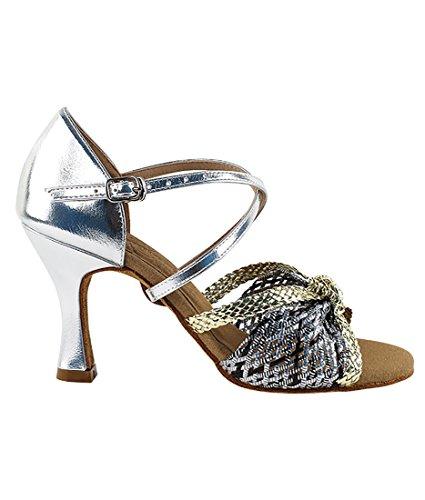 Molto Bella Sala Da Ballo Latino Tango Salsa Scarpe Da Ballo Per Le Donne S92309 Tacco 2,5 Pollici + Fascio Pieghevole Pennello Oro-argento Treccia