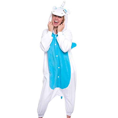 Silver Lilly Adult Pajamas - One Piece Cosplay Animal Costume (Blue Unicorn, (Anime Teen Costumes)