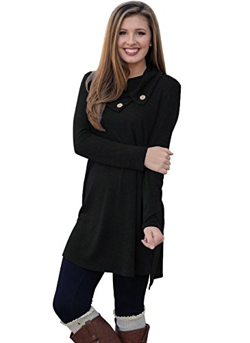 Our Precious Womens Long Sleeve Button Lapel Neck Sides Slit Shirt Dress BlackXL