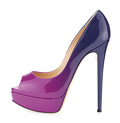 Plateforme Ubeauty Toe Bleu Peep Grande Taille Gradient Femme Escarpins Open Chaussures Sandales EEqnTH7