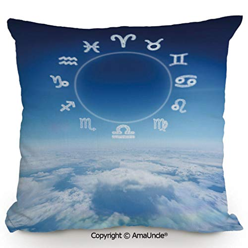 Personality Customization AmaUncle Pillow Zodiac Signs Aquarius Pisces Aries with Sky Clouds Backdrop Art Print Decorative,W18xL18 Inches,Stylish Design Throw Pillow for Bed Sofa Couch Chair Back ()