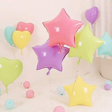 palloni da Decorazione di Festa Palloncino Alluminio Stella Pentagramme Pallone Decorativo Viola Giallo Macaron Articoli di Festa 5pcs Hosaire 1set