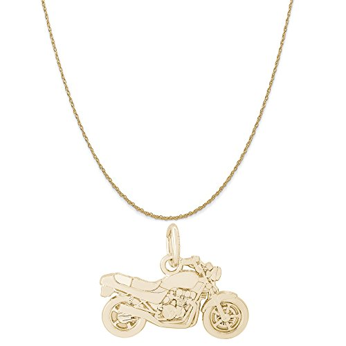 (Rembrandt Charms 14K Yellow Gold Motorcycle Charm on a 14K Yellow Gold Rope Chain Necklace, 16