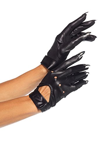 Leg Avenue Women's Claw Motorcycle Gloves with Keyhole Velcro Strap Adult Costume, Black, One Sizes Fit Most