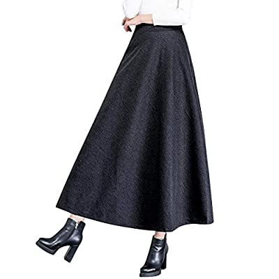 Winter Maxi Wool Skirt Pleated Flared Skater Skirts Vintage High Waist Solid Long A-line Skirt for Women with Pockets