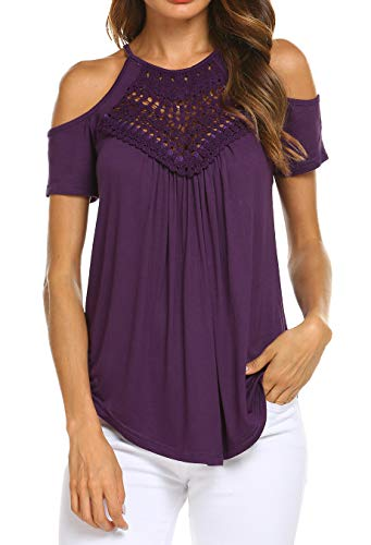 - Women's Casual Tops Lace Off Shoulder Short Sleeve Button Blouse Shirts Purple S