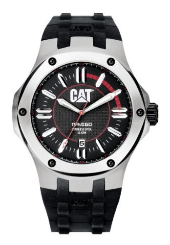 CAT WATCHES Men's A114121128 Navigo Date Black and Red Analog Dial Red Rubber Strap - Dial Rubber Red Strap