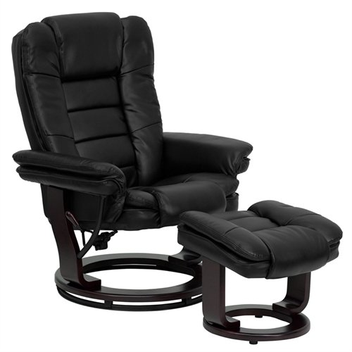 Flash Furniture Contemporary Black Leather Recliner and Ottoman with Swiveling Mahogany Wood (Lounge Chair And Ottoman)