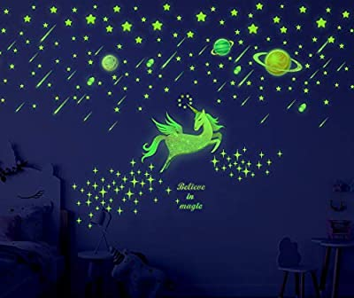 Sionoiur 214pcs Glow in The Dark Stars Unicorn and Planets Wall Decals Colorful Wall Stickers Glowing Ceiling Decals Mural for Baby Nursery Bedroom Living Room,Shining Space Decoration for Kids Girls