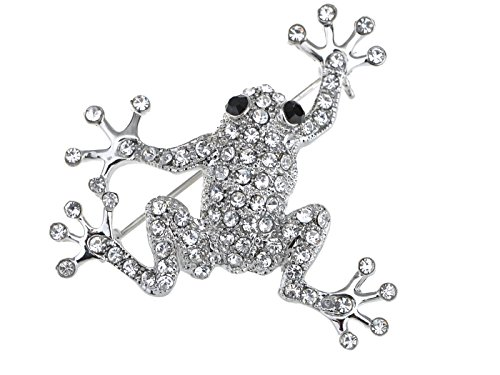 Alilang Silvery Tone Clear Crystal Colored Rhinestones Frog Toad Brooch Pin (Rhinestone Frog)