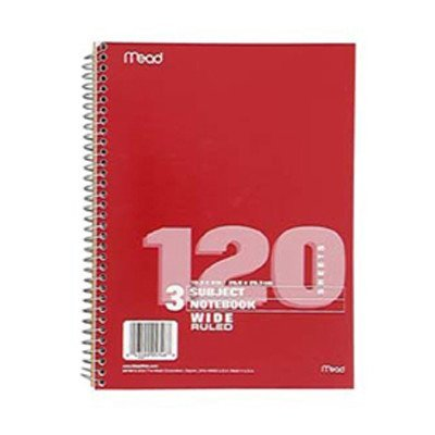 Notebook Spiral 3 Subject 120 Ct [Set of 3] by Mead