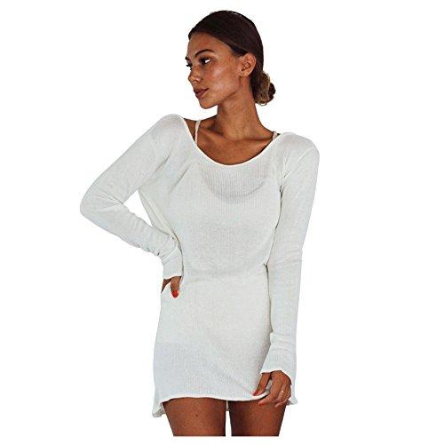 5f1f6ba0308 TOOGOO(R) Women Summer Autumn Sexy Sweater Dress Women Solid White O-neck