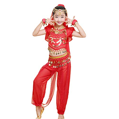 Maylong Girls Short Sleeve Top Harem Pants Belly Dance Outfit Halloween Costume DW64 (Medium, red)