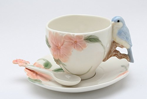 - Fine Porcelain Bluebird with Apple Blossom Cup and Saucer plus Spoon Sets (2 Sets), 5-5/8