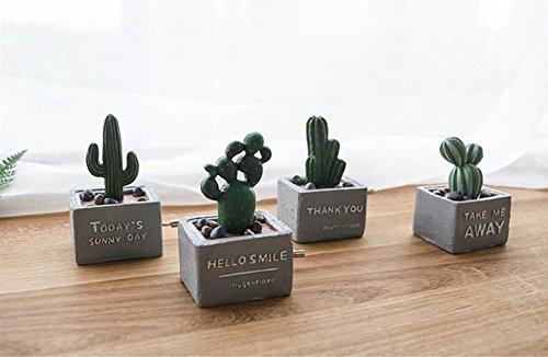 urtoys 1pcs creativo Nordic de mini Cactus mano manivela Music Box Lovely Home computadora Resina Artesanía Decoración de...