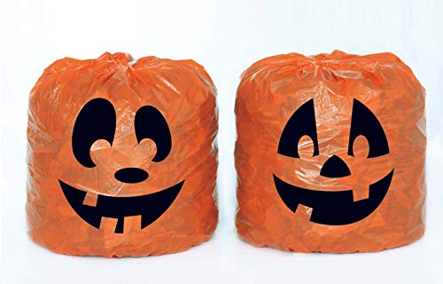Funny & Scary Face Pumpkin Leaf Bags, Halloween 2pk ()