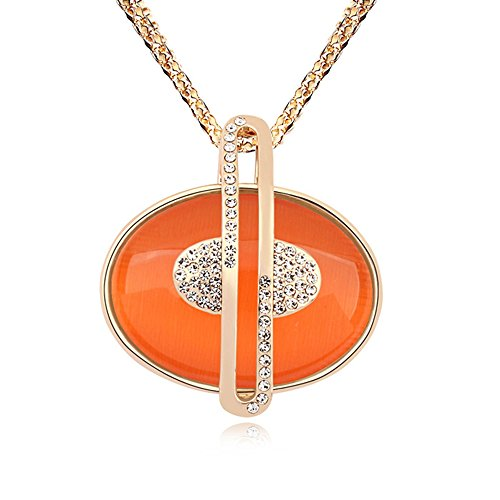 Orange Cat Charm - Alvdis Premium Oval Orange Stone Cat's Eye Crystal Pendant Long Chain Necklace - Elegant & Classy Design