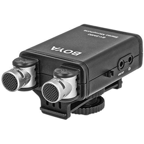 Boya BY-SM80 - Microfono estereo con filtro de paso alto (ajustable de 90° a 120°, apto para camaras reflex digitales, videocamaras, grabadoras de audio)