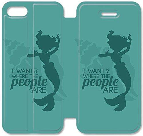 Flip étui en cuir PU Stand pour Coque iPhone 5 5S, bricolage 5 5S Coque Case étui de téléphone cellulaire Disney La Petite Sirène Ariel 2 Y4C4FD Effacer Coque iPhone en cuir personnalisé