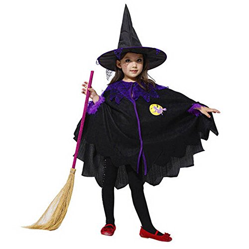 Halloween Witch Costume for Baby Girls,Toddler Kids Cute 2Pcs Party Dress Witch Cloak+Hat Clothes Sets (Polyester) -