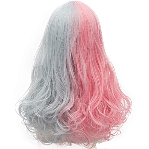 Probeauty Halloween Collection 75cm Mix Color Gothic Long Curly Wavy Ombre Hair Synthetic Cosplay Wig+Cap (55cm Curly Pink Mix Grey) -