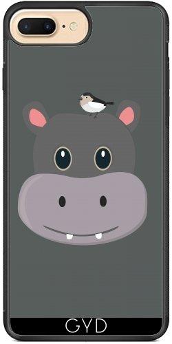 Coque Silicone pour Iphone 7 Plus / 8 Plus - Hippopotame Mignon Avec Oiseau by ilovecotton