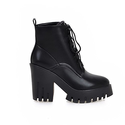 Allhqfashion Women's Pointed Closed Toe Low-top High-Heels Solid PU Boots Black KsNQn