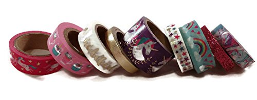 Unicorns and Rainbows Washi Tape Set of 9 Spools