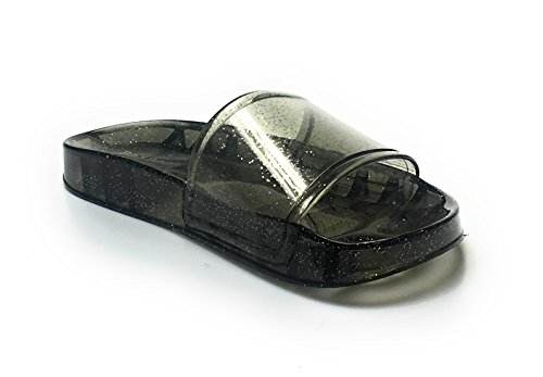 Bamboo Glitter Jelly Open Toe Slide Sandal Creative01 Black jcnPw