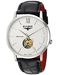 ELYSEE Men's 'Classic-Edition' Automatic Stainless Steel and Leather Casual Watch, Color:Black (Model: 77010.0)