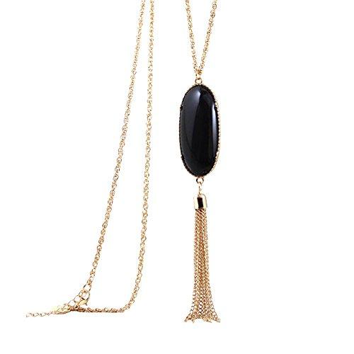 (Long Pendant Tassel Necklace Sweater Chain Bohemian Style for Women Girls (Black))