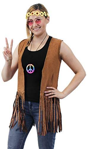 60s 70s Hippie Costume Accessories - 5-Set Vest Headband Glasses Pouch Necklace, Women Size ()