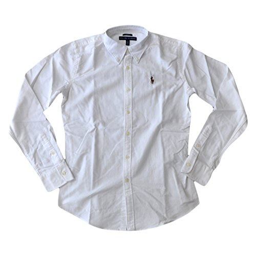Polo Ralph Lauren Women's Classic Fit Oxford Buttondown Shirt (Large, White) (Classic Shirt Oxford Sleeve Long)