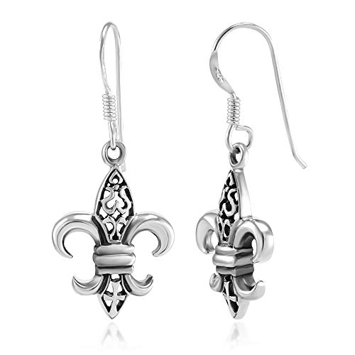 (925 Sterling Silver Filigree Fleur De Lis Dangle Hook Earrings)