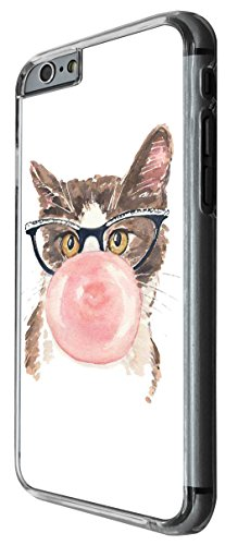 1000 - Cool fun cute illustratin cat kitten feline nerd glasses bubblegum love Design For iphone 6 6S 4.7'' Fashion Trend CASE Back COVER Plastic&Thin Metal -Clear