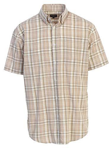- Gioberti Men's Plaid Short Sleeve Shirt, Khaki/Brown, Medium