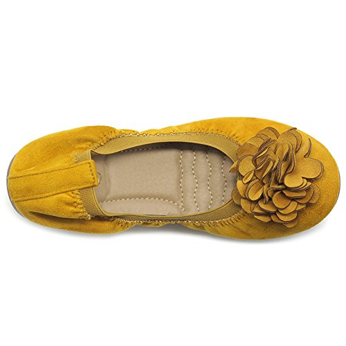 Ollio Women's Shoes Faux Suede Decorative Flower Slip On Comfort Light Ballet Flat ZY00F55 (9 B(M) US, Mustard) by Ollio (Image #6)