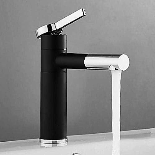 CLJ-LJ バスルームのシンクは、スロット付き浴室の洗面台のシンクホットコールドタップミキサー流域の真鍮シンクミキサータップ非震とうバスルームのシンクのブラックノズルセットの単穴一つの穴浴室の蛇口を蛇口、ポンピングタップ