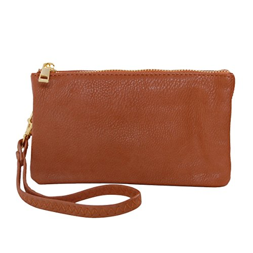 Humble Chic Vegan Leather Wristlet Wallet Clutch Bag - Small Phone Purse Handbag, Saddle Brown, Camel, Tan, Cognac, Walnut - Brown Chic Handbag