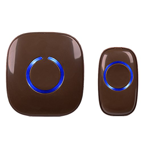 SadoTech Model C Wireless Doorbell Operating at over 500-feet Range with Over 50 Chimes, No Batteries Required for Receiver, (Brown)