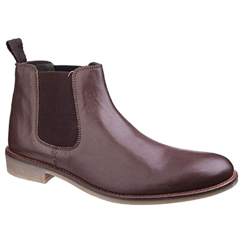 Lambretta Mens Fleet Chelsea Leather Elasticated Pull On Ankle Boots Brown